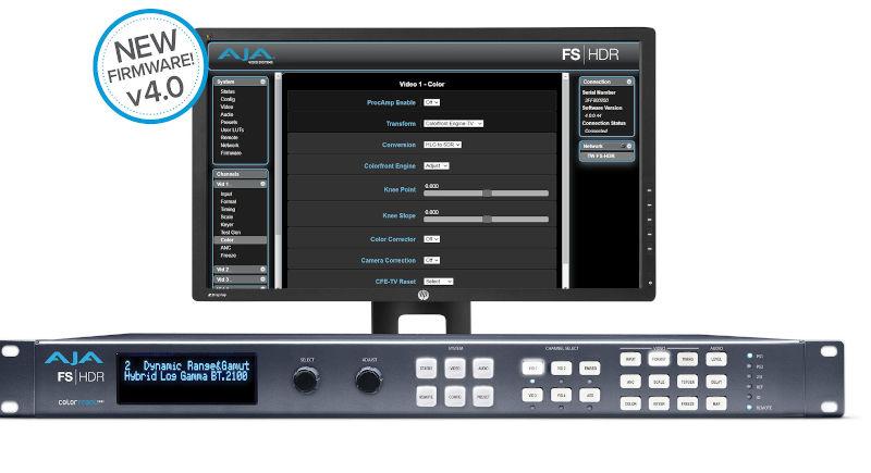 AJA FS-HDR v4.0 update brings TV mode for Colorfront Engine and v1.4 BBC HLG LUTs