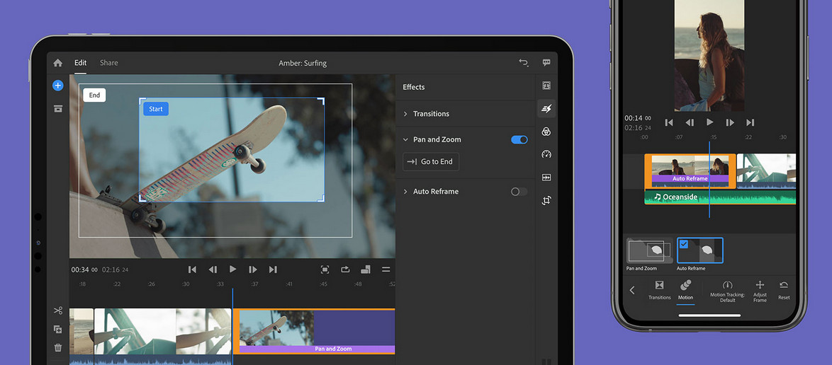 Adobe's Premiere Rush gets Auto Reframe and Pan'Zoom effect