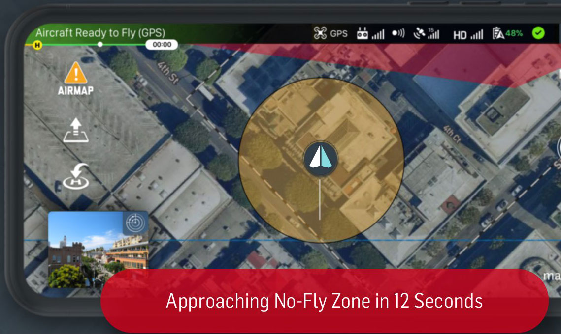 AirMap App: Alarm during approach of no-fly zones for DJI drones