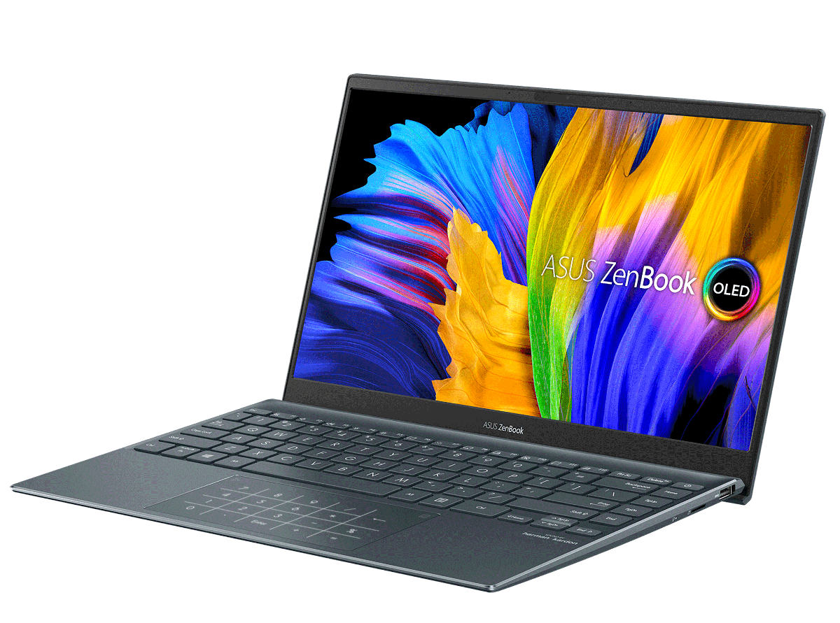Asus ZenBook 13 OLED: Slim notebook with Thunderbolt 4 and 100% DCI-P3