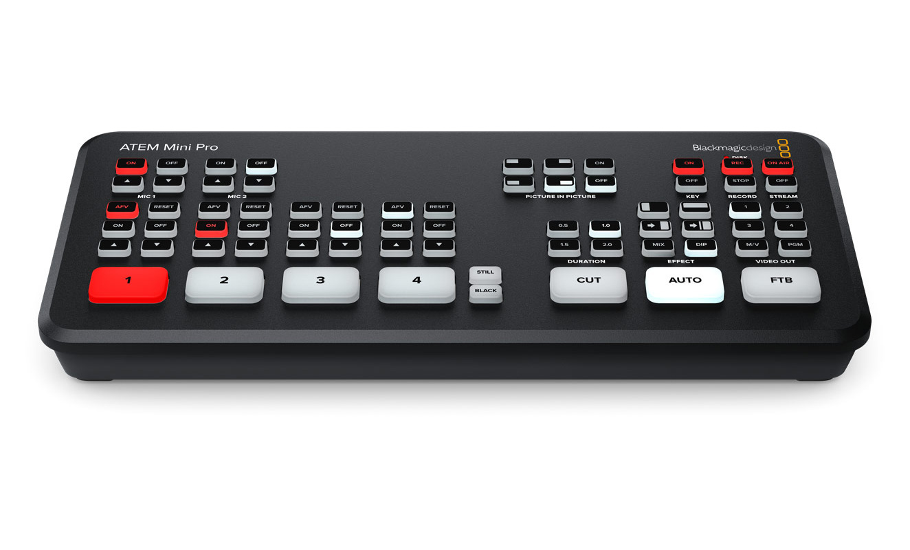 Blackmagic Design: Atem Mini Pro Switcher with integrated H.264 encoding for live streaming