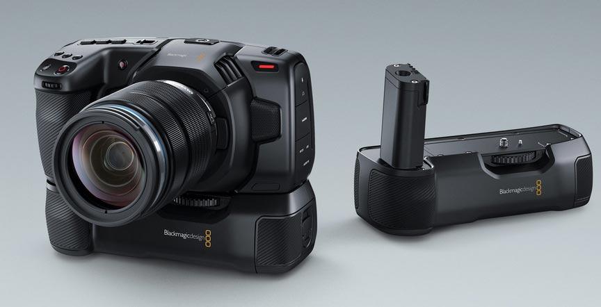 Blackmagic Pocket Battery Handle: 2 hours power for Pocket Cinema Camera 4K // NAB 2019