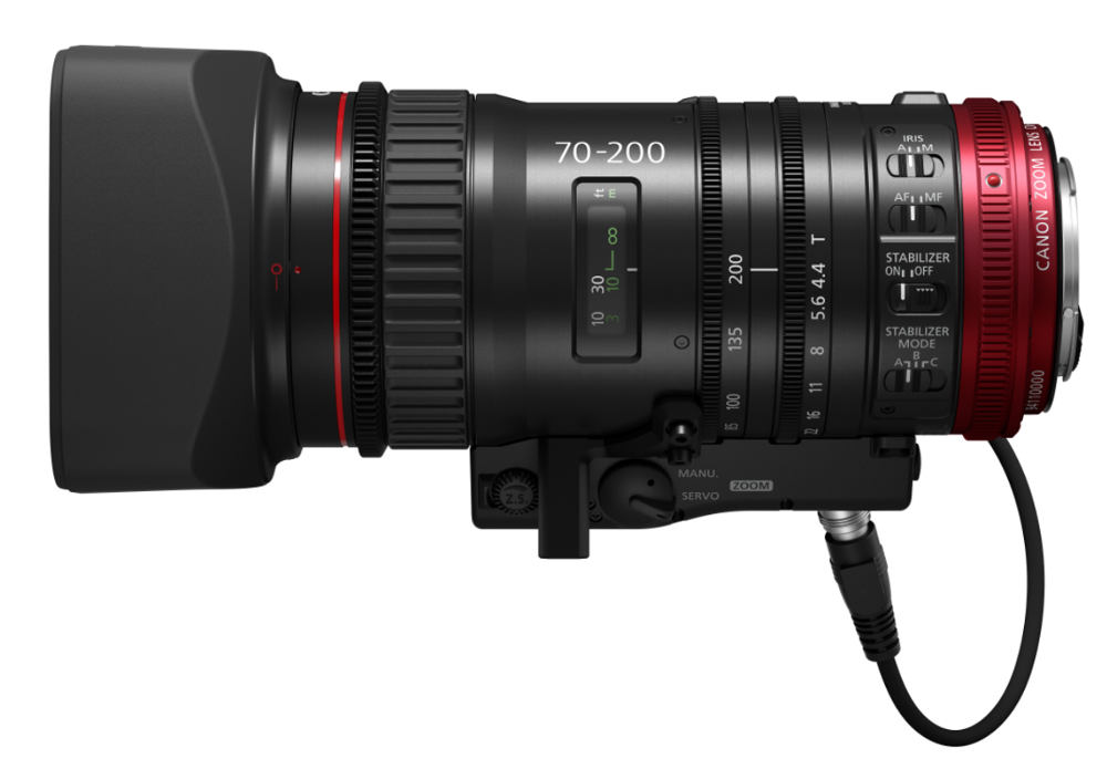 Canon Cine servo lens CN-E70-200mm T4.4 L IS presented for approx. 7000 Euro // NAB 2017