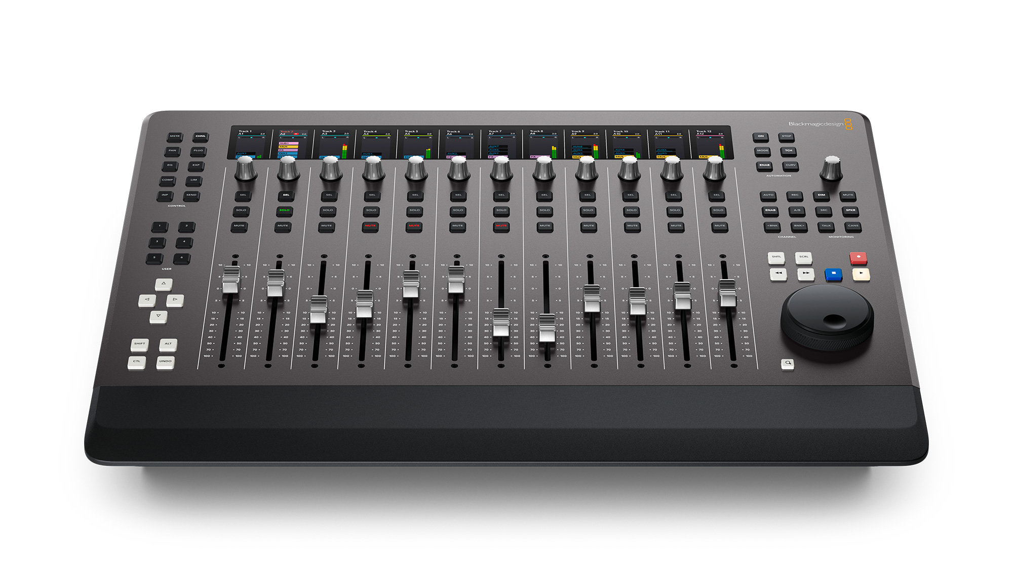 Blackmagic Design Fairlight Desktop Console: Mobile sound mixer with 12 flying faders and much more