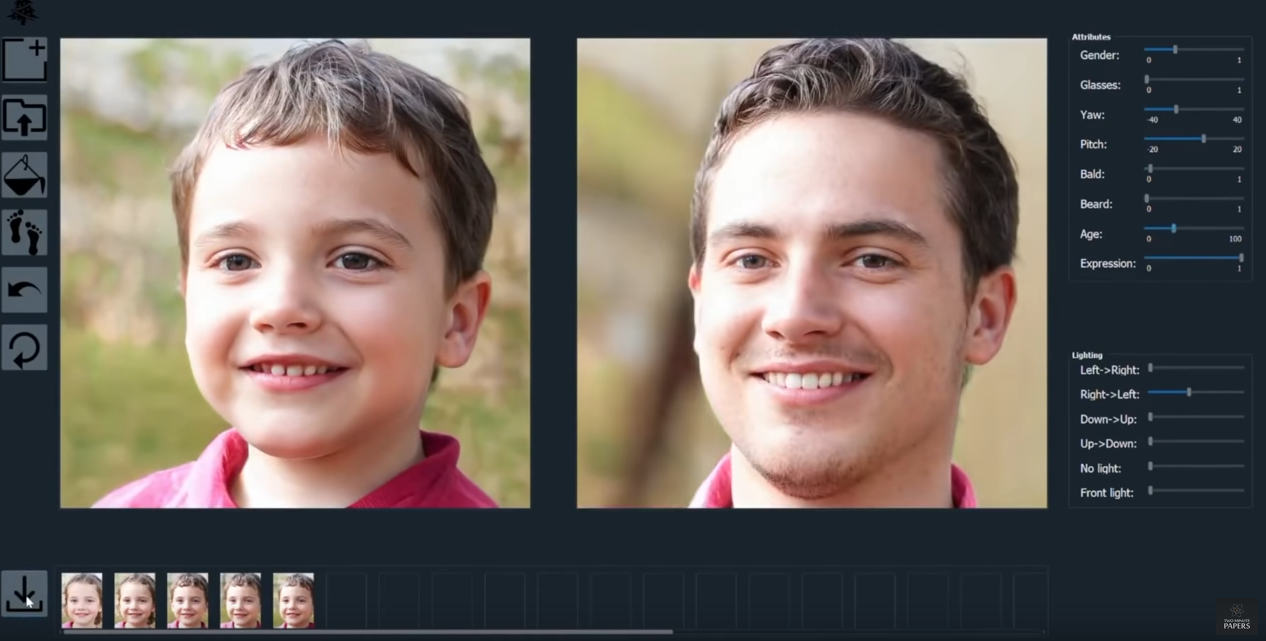 Change age, gender or facial expression of a face via AI Photo Editing