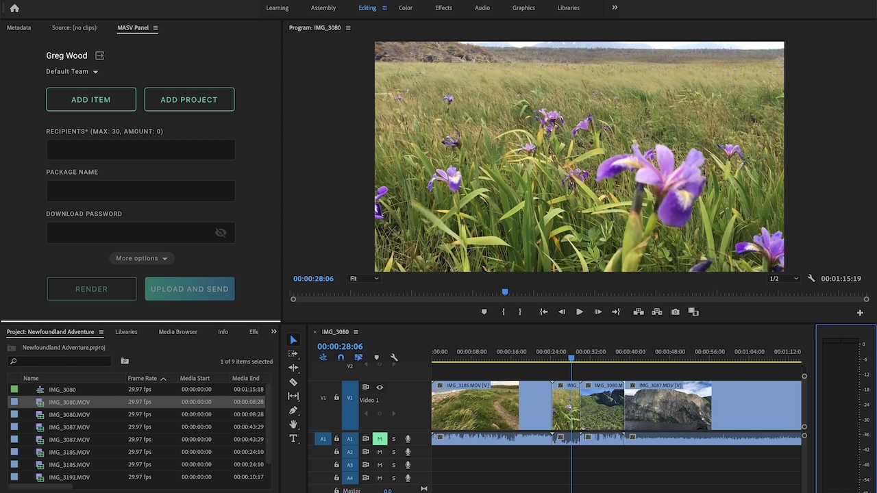 Highspeed File Transfer Service MASV now with Premiere Pro Integration