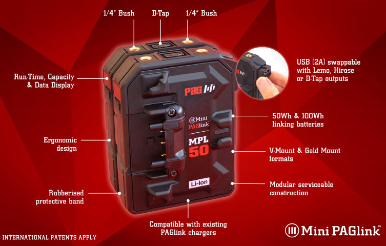 Mini PAGlink: series connectable modular intelligent camera batteries // IBC 2018