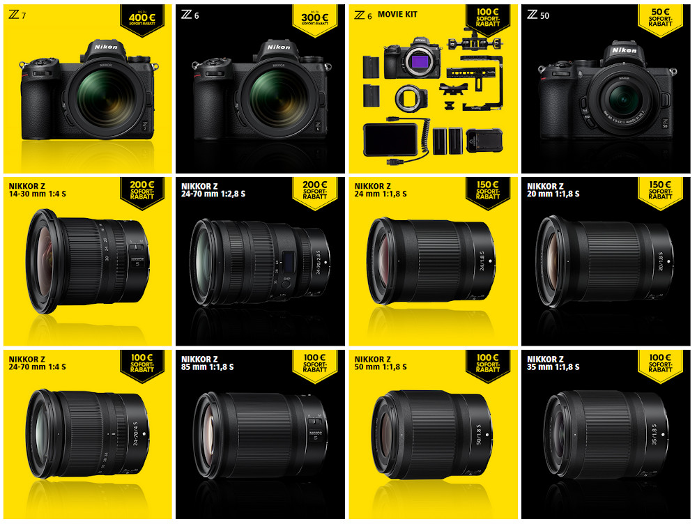 Nikon instant discount campaign: up to 400 Euro for Nikon Z6, Z7 and lenses
