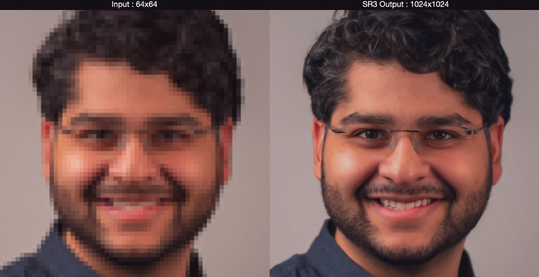 Google'amp;s new super-resolution algorithm SR3 upscales faces almost perfectly