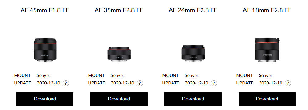 Samyang firmware updates for Sony E lenses improve autofocus
