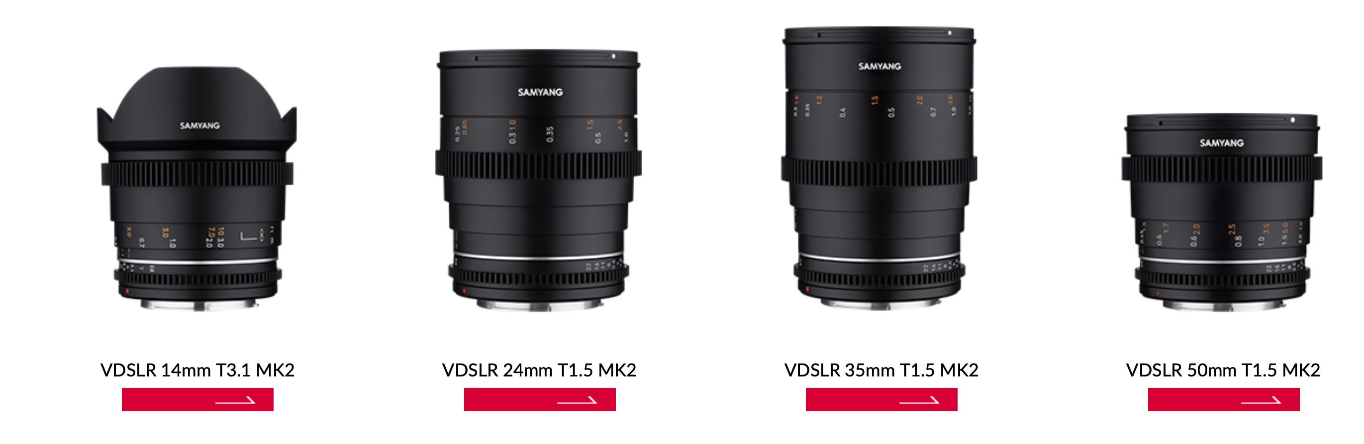 Samyang VDSLR MK2 cine lenses now available for Canon RF mount