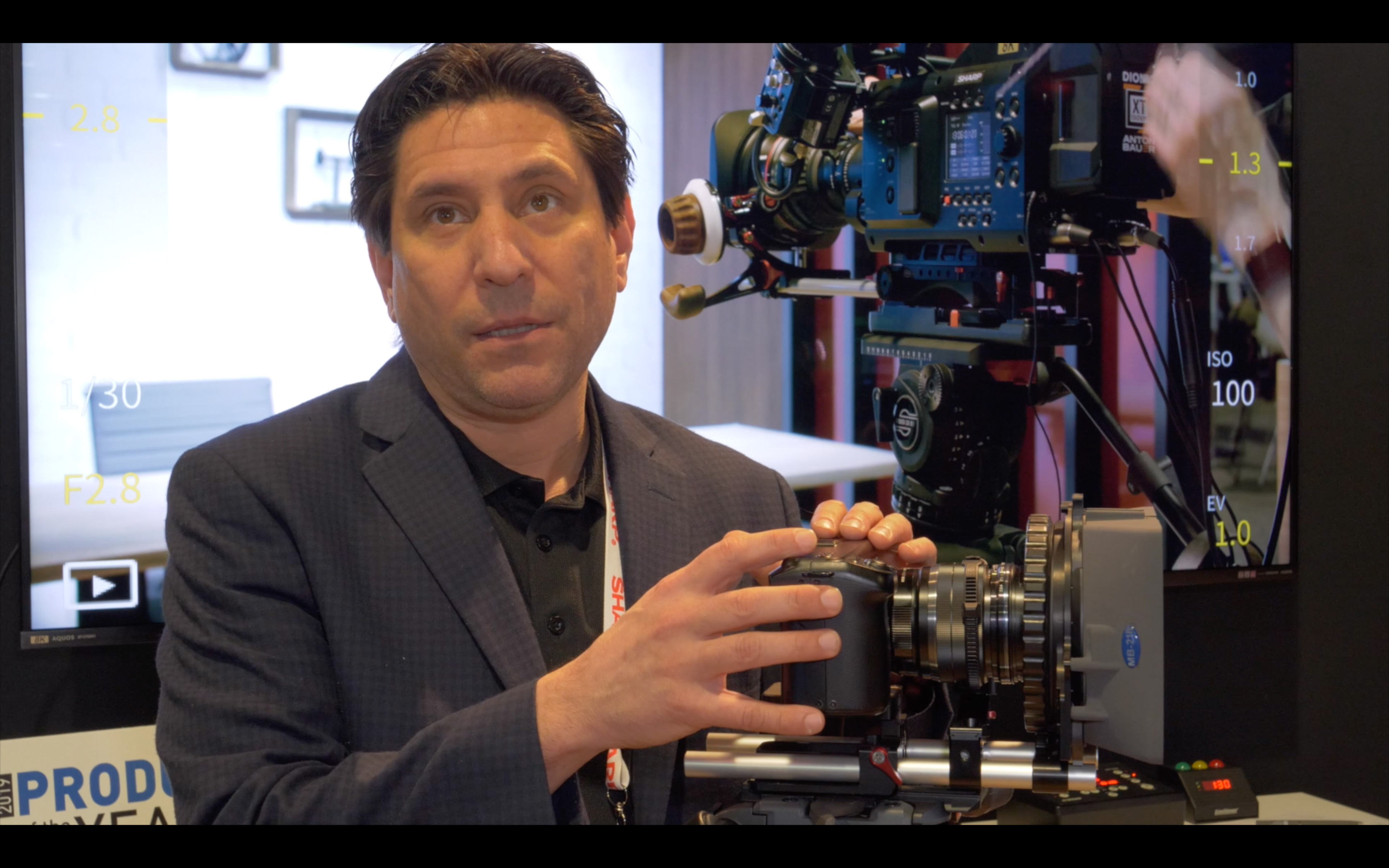 NAB 2019 video: Sharp 8K MFT Camera: formats, dynamic range, In/Outs, power consumption etc. // NAB