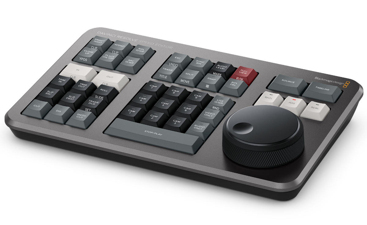 Blackmagic DaVinci Speed Editor: Compact keyboard for Resolve including Studio license for 305 Euro!