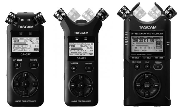 Three New Tascam Mobile Audio Recorders: DR-05X, DR-07X and DR-40X