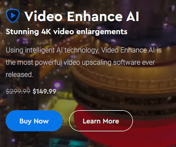 Topaz Labs Video Enhance AI 2.0: Video enhancements via AI at a special price