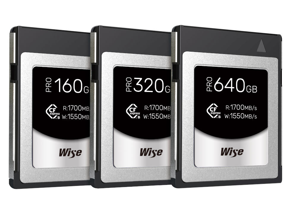Wise CFexpress Type B PRO memory cards with minimum write speed of 1,300 - 1,400 MB/s