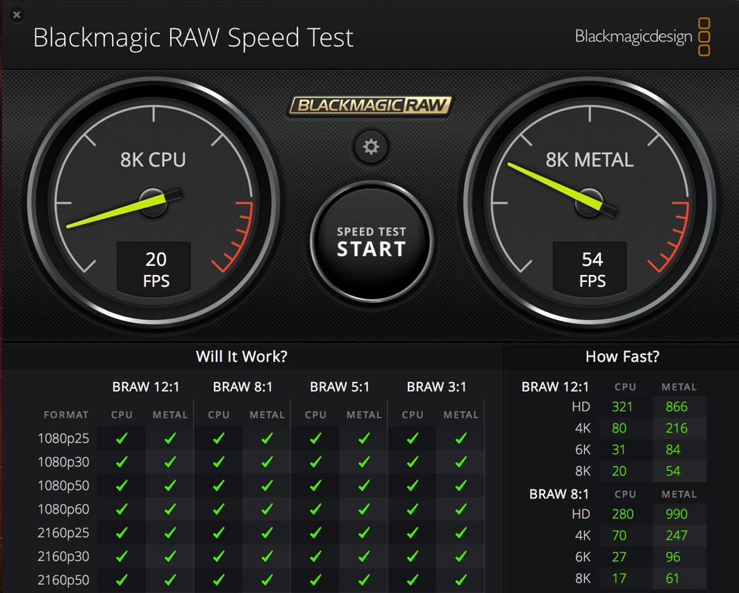 Blackmagic RAW Speed Test benchmarks system performance for BRAW