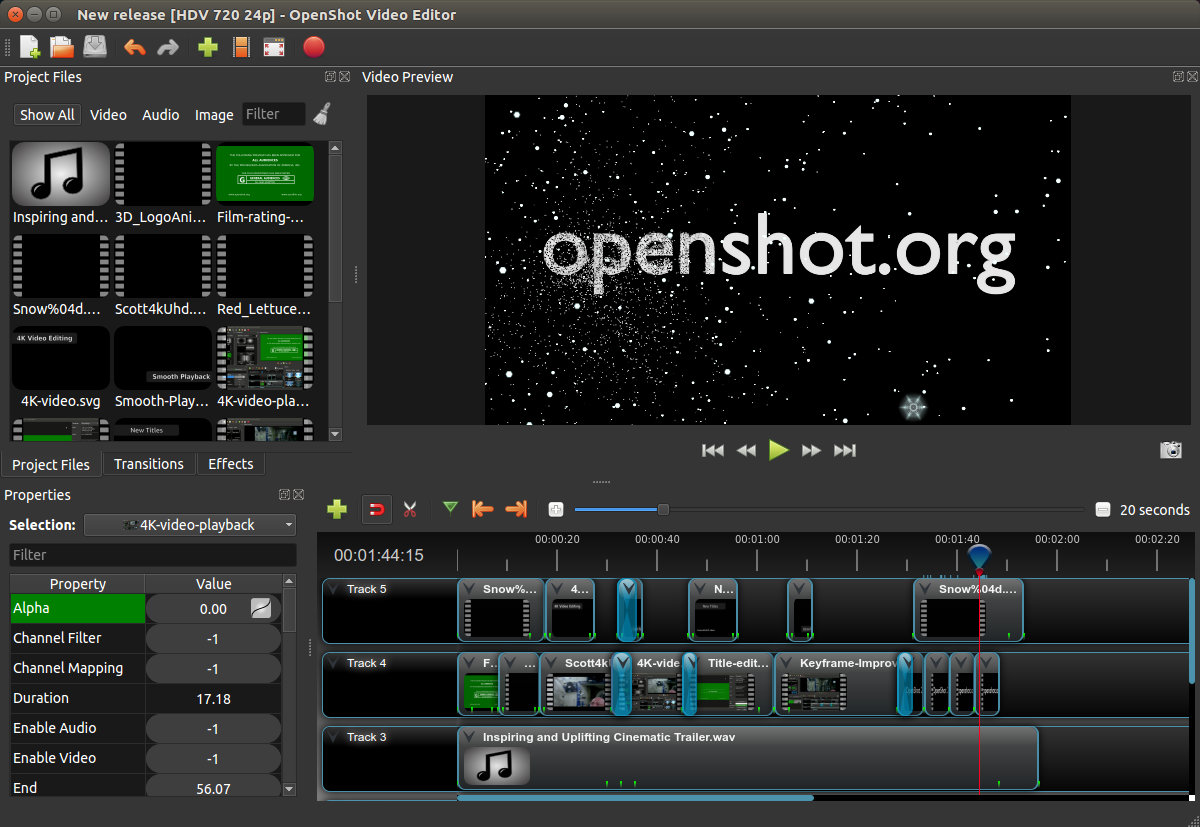 Free video editor OpenShot in new version 2.5.0 with encoding and decoding via GPU