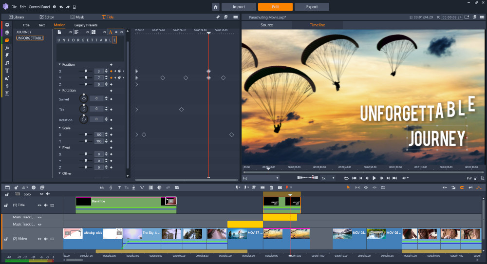Pinnacle Studio 24 brings title editor and dynamic video masks