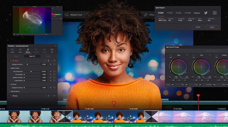 Resolve Studio 17.1 Public Beta 10 with Intel H.265-10Bit 4:2:2 hardware support