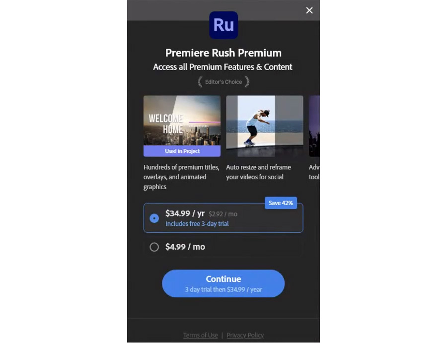 Adobe Premiere Rush - now also available as a Mobile Only subscription for 4.99 Dollar