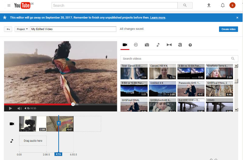 YouTube editor is set - too little interest in online editing