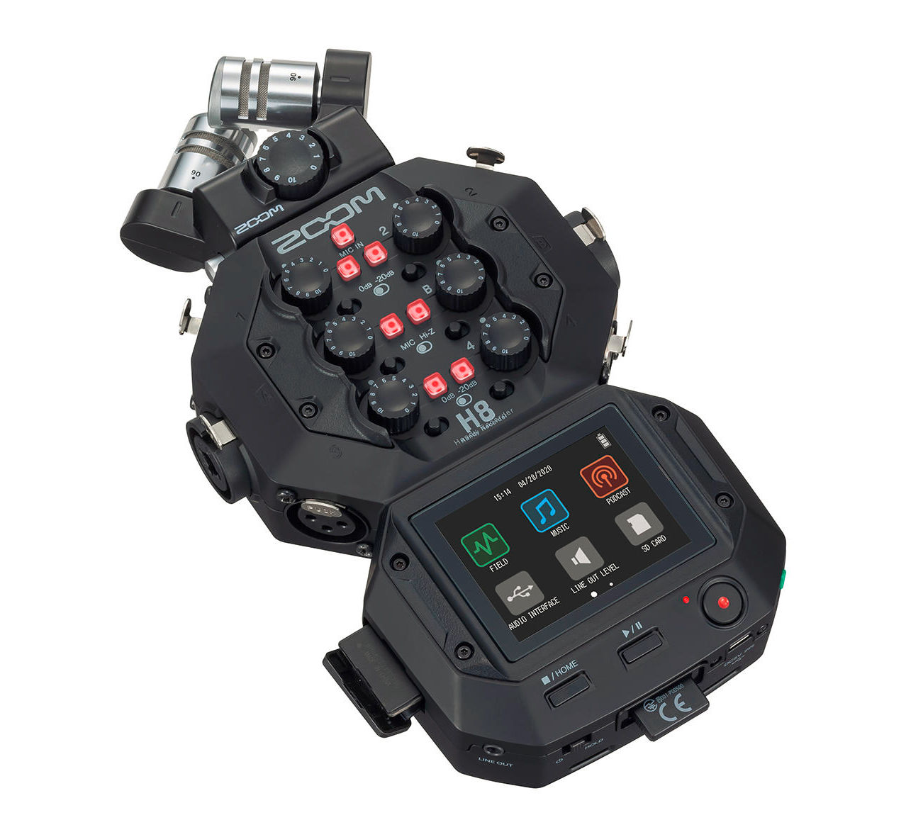 Zoom H8 Handy Recorder offers up to 10 XLR microphone-inputs